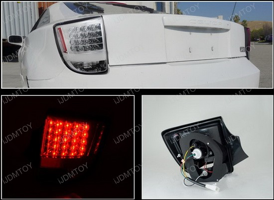 2000-2005 Toyota YARIS CELICA Chrome Housing Clear Lens LED Tail Lights