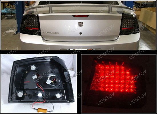 2006 2008 dodge charger models smoked lens led tail lights. Black Bedroom Furniture Sets. Home Design Ideas