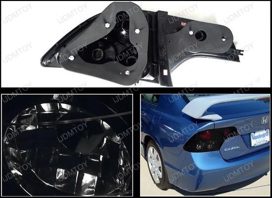 2006-2011 Honda CIVIC 4-Door Sedan Black Housing Smoke Lens Tail Lights