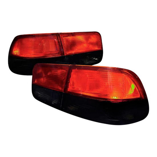 1996-2000 Honda CIVIC 2-Door Coupe Chrome Housing Red/Smoke Lens Tail Lights