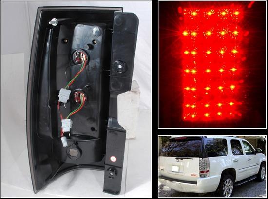 07-10 Chevrolet/GMC SUBURBAN TAHOE DENALI YUKON Chrome Housing LED Tail Lights