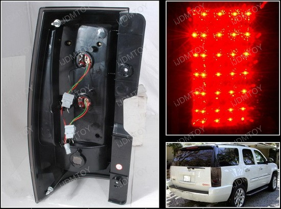 07-10 Chevrolet/GMC SUBURBAN TAHOE DENALI YUKON Black Lens LED Tail Lights