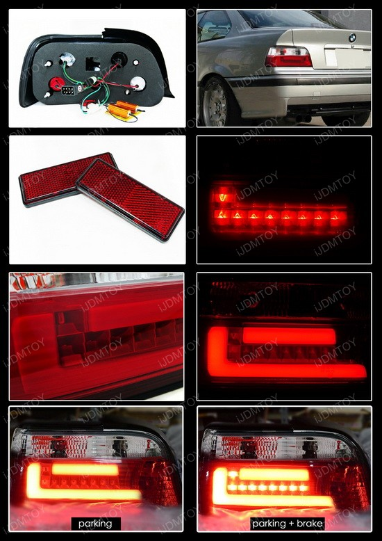 92 98 Bmw E36 3 Series Altezza Style Red Clear Euro Taillight Tail Lamps