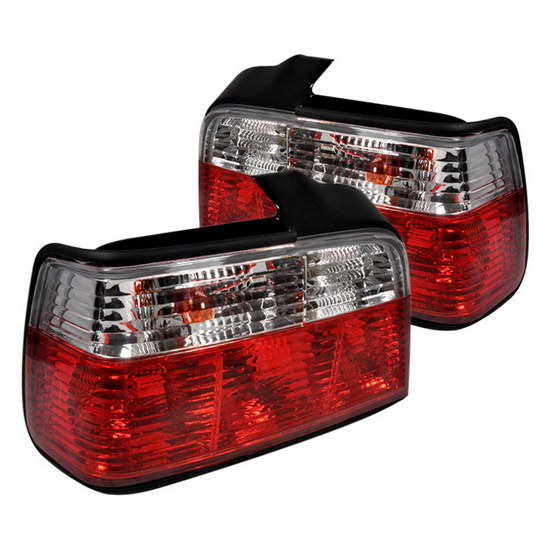 92-98 BMW E36 3 Series Sedan Red Clear Housing Tail Lights