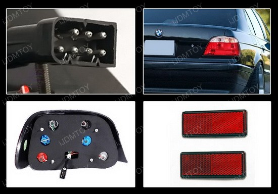 95-01 BMW 7 Series Altezza Style Red/Clear Euro Tail Lights