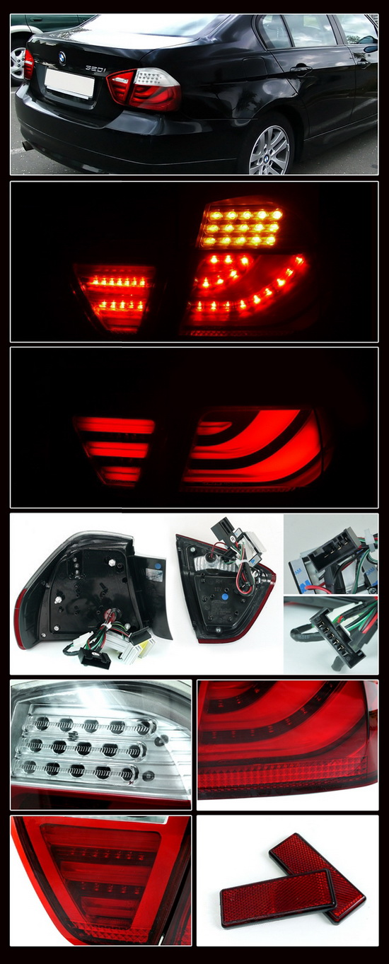 05 08 Bmw E90 3 Series Red Clear Lens Led Tail Lights With 3d Light Bars