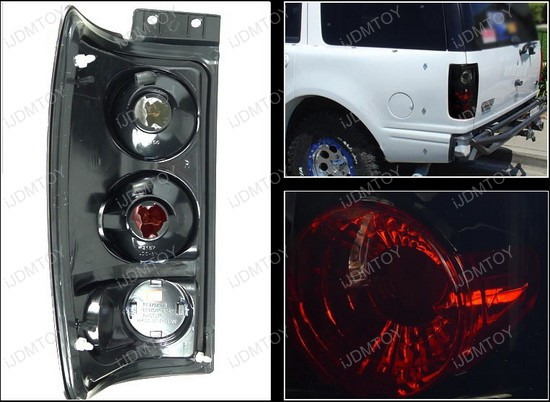 1997 2002 Ford Expedition Black Housing Smoke Lens Euro Style Tail Lights