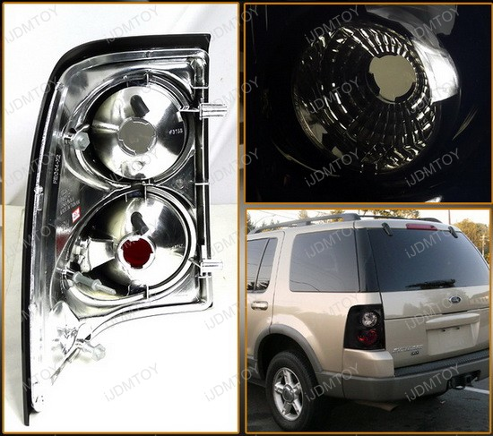 2002-2004 Ford EXPLORER Black Housing Smoke Lens Euro Style Tail Lights