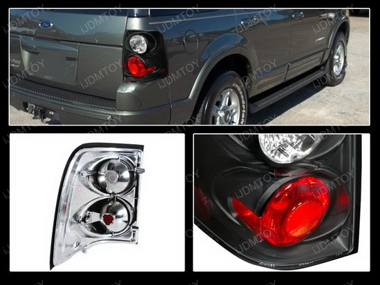 02-05 Ford Explorer Altezza Style Clear/Black Euro Tail Lights