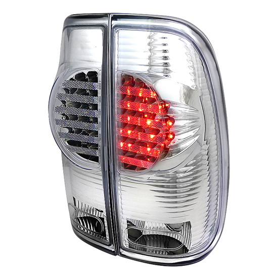 97 03 ford f150 chrome housing clear lens led tail lights. Black Bedroom Furniture Sets. Home Design Ideas