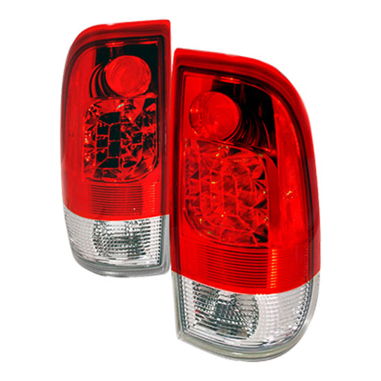1997-2003 Ford F150 F250 Red Lens Euro Style LED Tail Lights