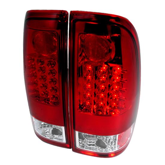 97 06 ford f150 f250 f350 red clear lens led tail lights. Black Bedroom Furniture Sets. Home Design Ideas