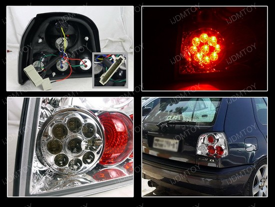 93-98 Volkswagen Golf Chrome Euro Tail Lights with LEDs