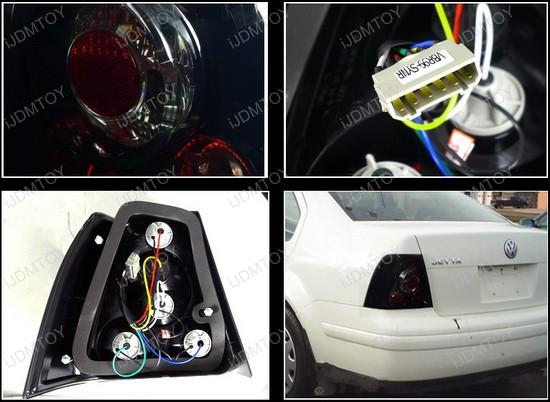 1999-2004 Volkswagen JETTA Black Housing Smoke Lens LED Tail Lights