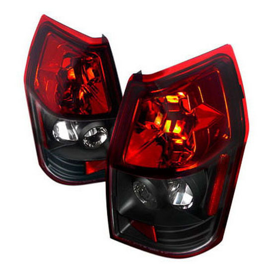 2005-2008 Dodge MAGNUM Black Housing Red Lens Euro Style Tail Lights