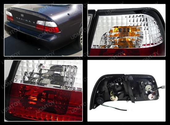 95-96 Nissan Maxima Altezza Style Red/Clear Euro Tail Lights