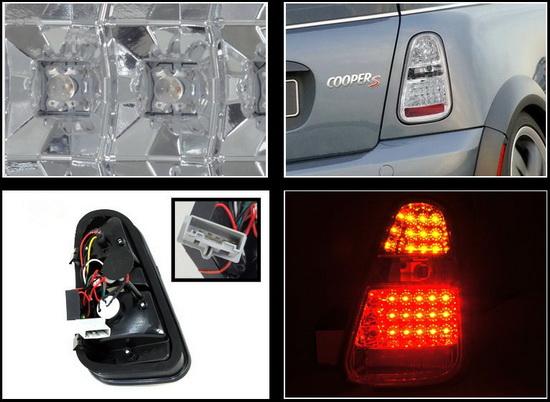 2005-2006 MINI COOPER S Chrome Housing clear Lens LED Tail Lights