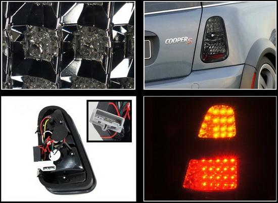 05 06 Mini Cooper S Chrome Housing Smoked Lens Led Tail Lights