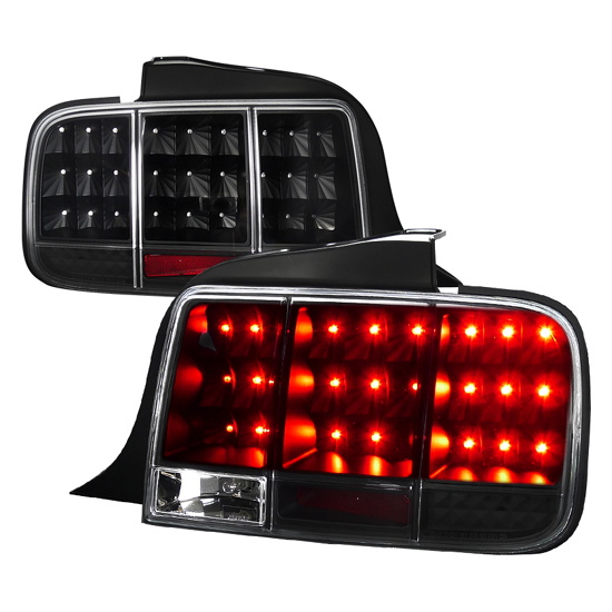 2005-2009 Ford MUSTANG Black Housing Clear Lens Euro Style Sequential LED Tail Lights
