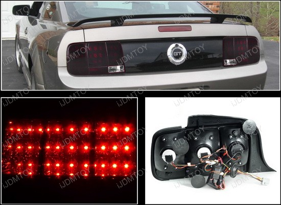 05-09 Ford MUSTANG Smoke/Red Lens LED Tail Lights