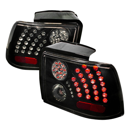 99 04 ford mustang black smoke lens euro style led tail lights. Black Bedroom Furniture Sets. Home Design Ideas
