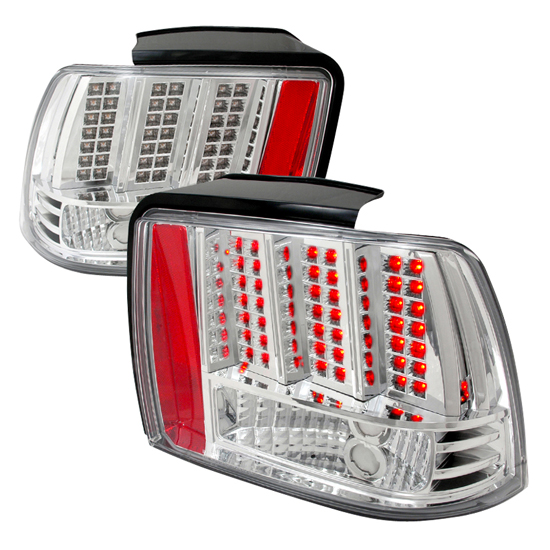 99-04 Ford MUSTANG Chrome Housing LED Tail Lights