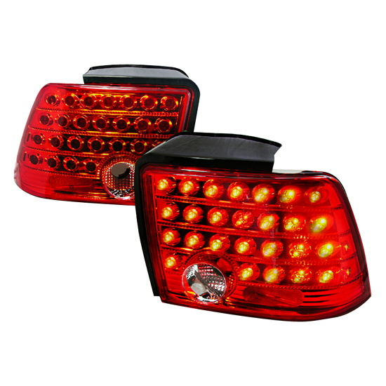 99 04 ford mustang red lens euro style led tail lights. Black Bedroom Furniture Sets. Home Design Ideas