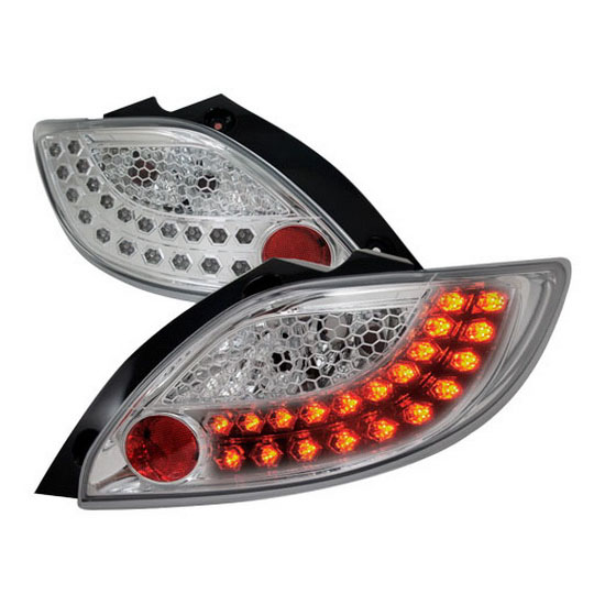 2011 Mazda 2 Chrome Housing Clear Lens LED Tail Lights