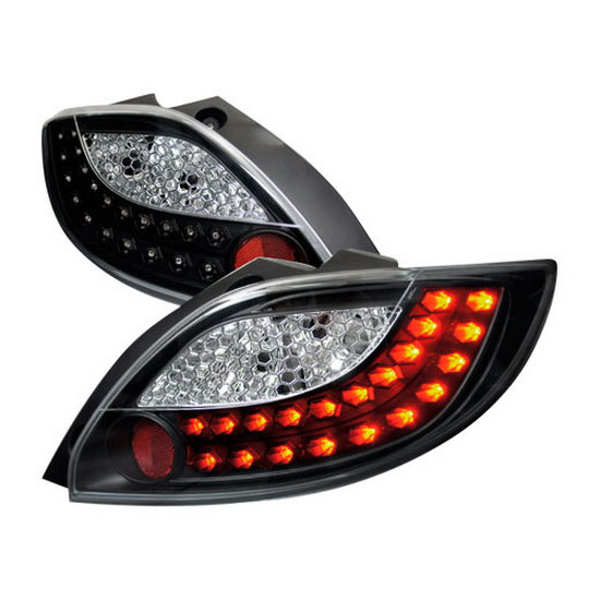 11 Mazda 2 Black Housing/Clear Lens LED Tail Lights