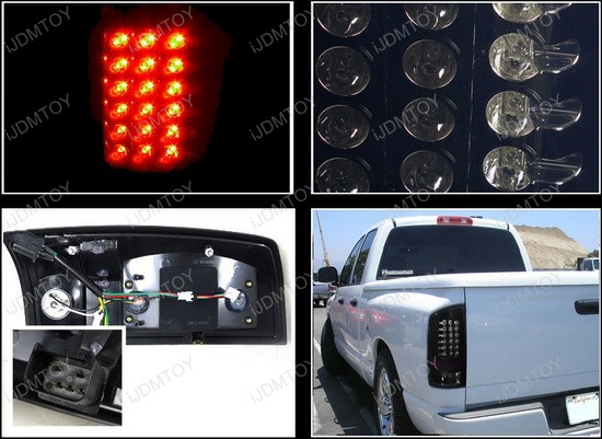 2002-2006 Dodge RAM Black Housing Smoke Lens Euro Style LED Tail Lights