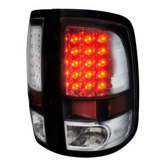2009-2012 Dodge RAM 1500 Black Housing Clear Lens Euro Style LED Tail Lights