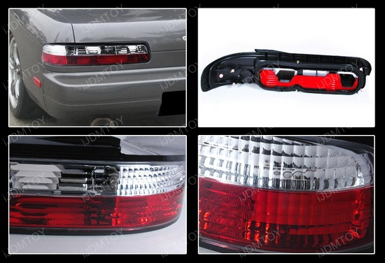 89-94 Nissan 240SX Altezza Style Red/Clear Euro Tail Lights