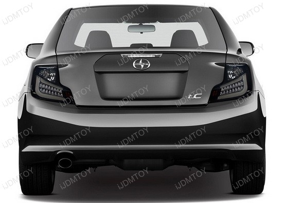10-11 Scion TC Glossy Black Housing Dark Smoke Lens LED Tail Lights