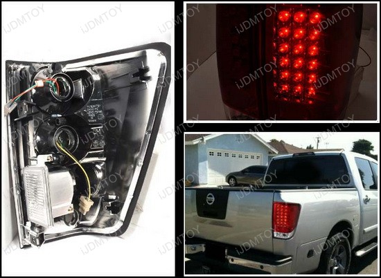 04-11 Nissan TITAN LE/SE/XE EXTENDED/CREW CAP PICK 4DR Red Lens LED Tail Lights