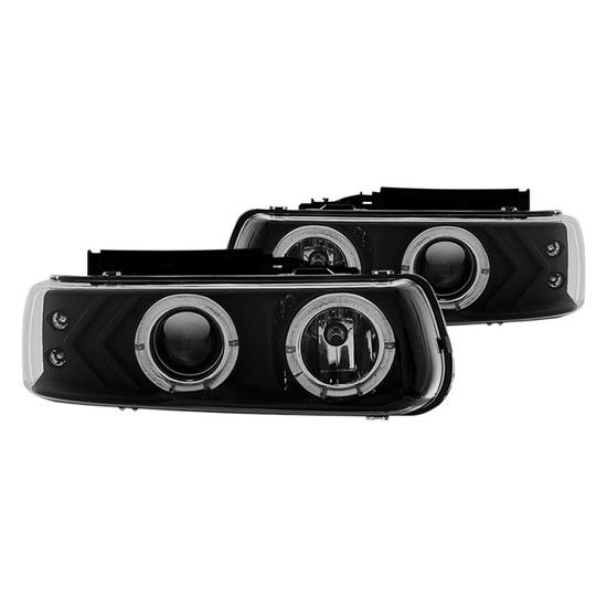 99-02 Chevy SILVERADO Black Housing Halo Projector Headlights