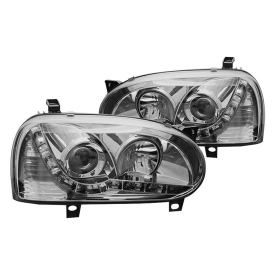 93-98 Volkswagen GOLF 3 Chrome Housing Projector Headlights with LEDs