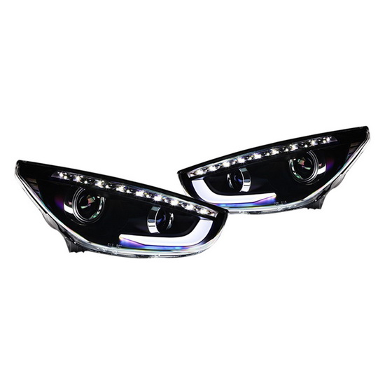 10-12 Hyundai TUCSON Black Housing Projector Headlights with LED DRL