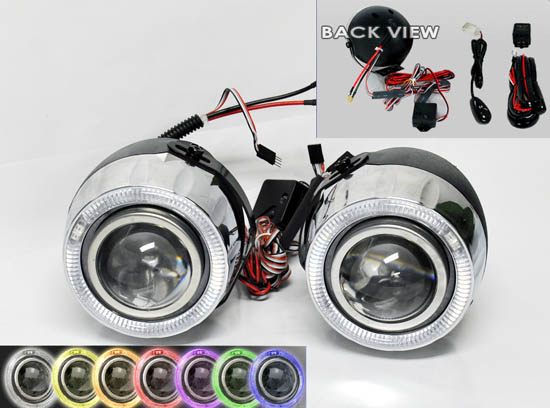 7 Color LED Halo Rings Projector Fog Lights