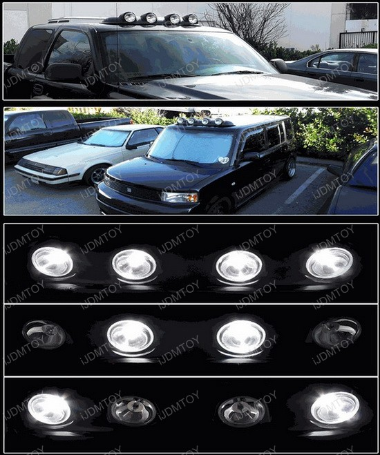 Universal Fit Black Clear Lens Oem Style Roof Fog Lights