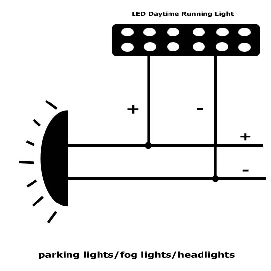 LED DRL Installation 3 diagram for led daytime running lights & finding acc 12v power driving lights wiring harness motorcycle at crackthecode.co
