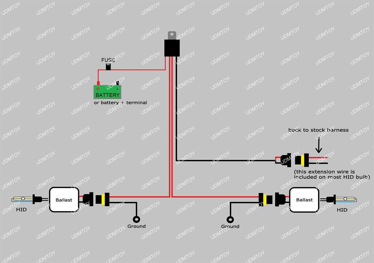 HID relay 02 how to install hid conversion kit relay harness wiring 12v 40a relay wiring diagram at edmiracle.co